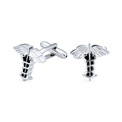 Caduceus Medical Inia Doctors RNs Nurses Shirt Cufflinks Gift Steel
