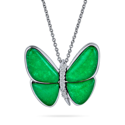 Butterfly Green Imitation Jade Pendant 925 Sterling Silver Garden Necklace