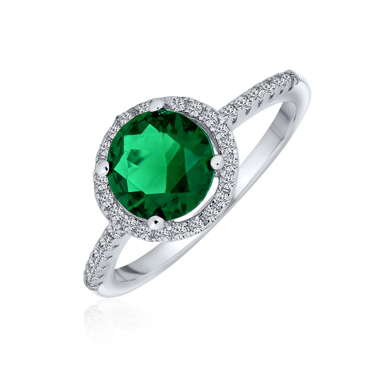 3CT Round Solitaire Green Imitation Emerald CZ Halo Statement Ring