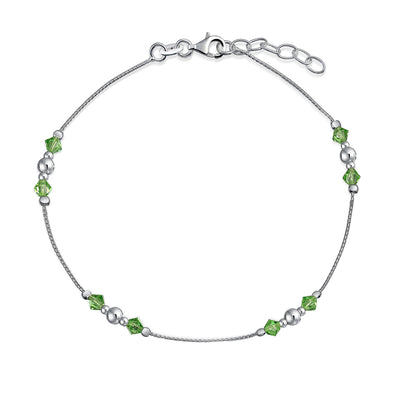 Lime Green Crystal Bead Anklet Sterling Silver Ball Bead 9-10 inch