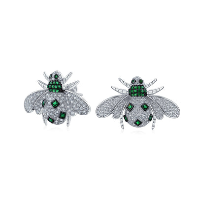 Pave Green White CZ Bumble Bee Stud Earrings Sterling Silver  Simulated Emerald