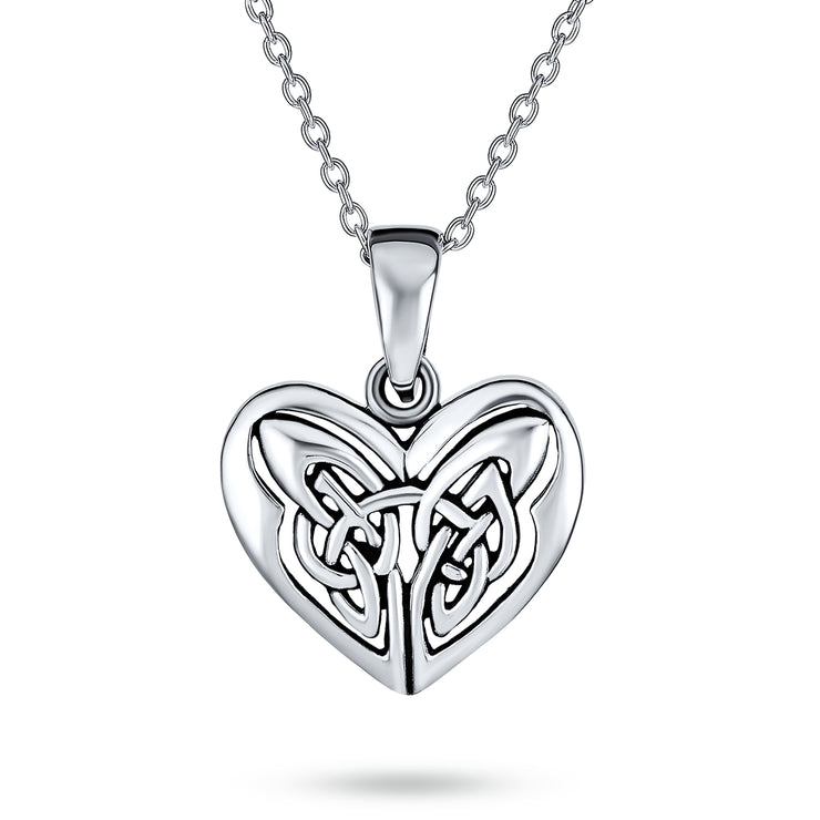 Butterfly Heart Knot Triquetra Celtic Necklace Sterling Silver Pendant