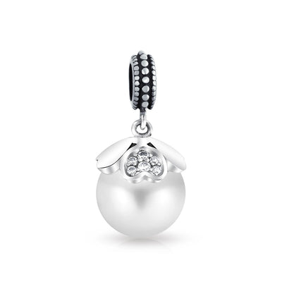 Heart Cap White Imitation Pearl Dangle Charm Bead 925 Sterling Silver