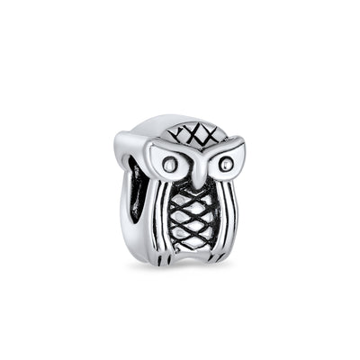Wise Graduate Owl Bird Charm Bead Oxidized 925 Sterling Silver
