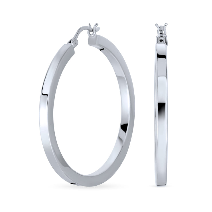 Simple Large Big Hoop Earrings For Women 925 Sterling Silver 1.65 Inch