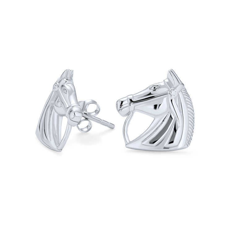 Equestrian Equine Thoroughbred Horse Stud Earrings Sterling Silver