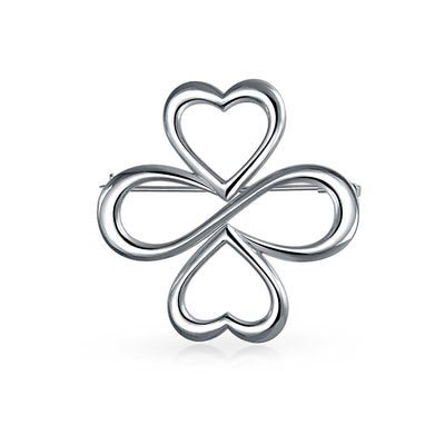 Hearts Infinity Clover We are One Plated Sterling Silver Brooch Pin