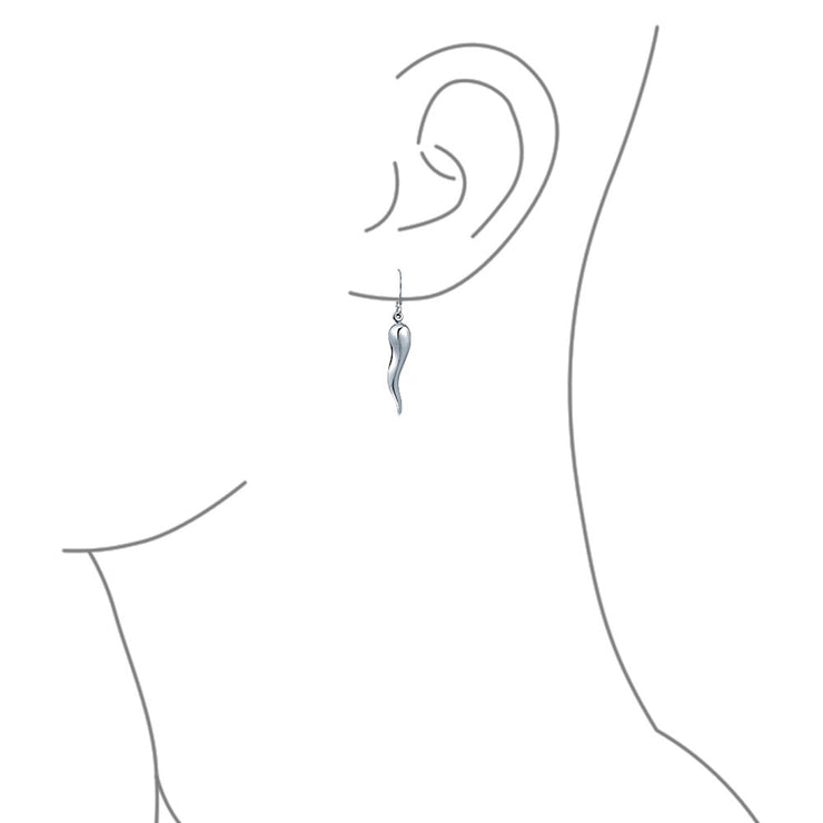 Italian Culture Horn Cornicello Style 925 Sterling Silver Earrings