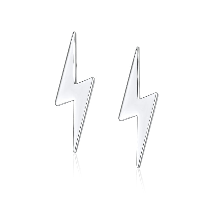 Tiny Minimalist Thunder Lightning Bolt Stud Earrings Sterling Silver