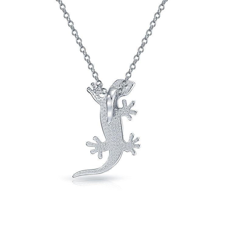 Gecko Lizard Beach Pendant Blue Created Opal Necklace Sterling Silver