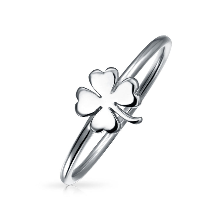 925 Sterling Silver Irish Shamrock Clover Midi Knuckle 1MM Band Ring