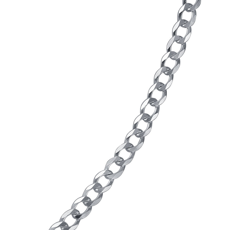 Curb Cuban Chain 080 Gauge Necklace 925 Sterling Silver Made In Italy