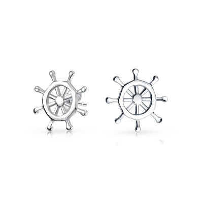 Nautical Boat Ship Wheel Small Stud Earrings Women 925 Sterling Silver