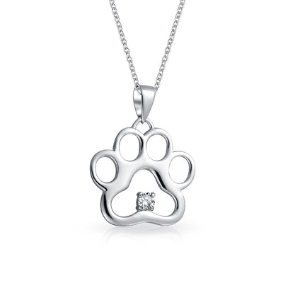 Dog Cat Puppy Paw Print Pendant Necklace CZ 925 Sterling Silver