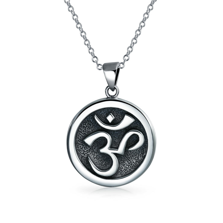 Aum Om Ohm Sanskrit Medallion Pendant Necklace Circle Disc Silver