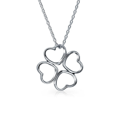 Good Luck Leaf Clover Flower Hearts Pendant Necklace Sterling Silver