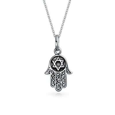 Hamsa Hand Star Of David Filigree Pendant Necklace Black Sterling Silver