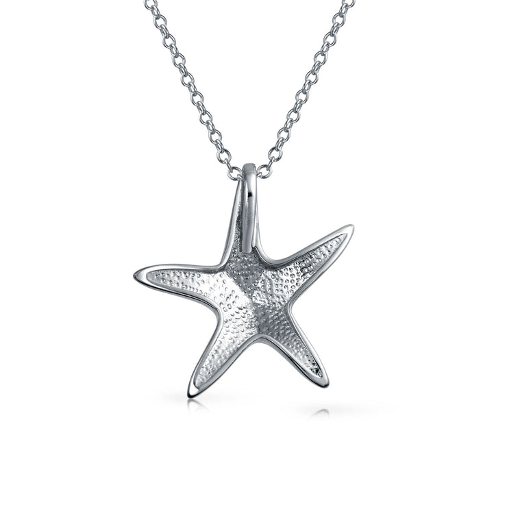Starfish Pendant Blue Created Opal Necklace 925 Sterling Silver Chain