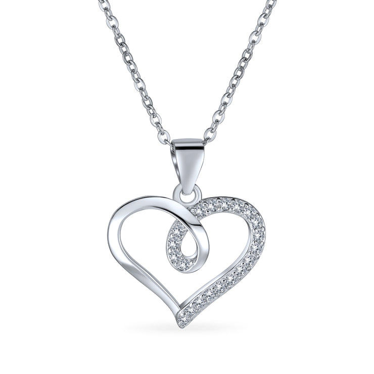 Heart Ribbon Pave Cubic Zirconia Pendant Necklace 925 Sterling Silver