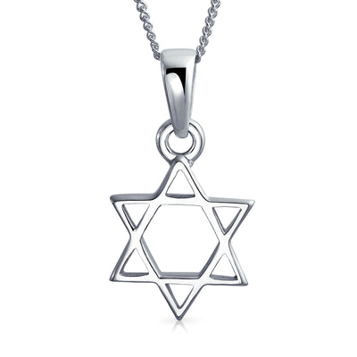Star OF David Magen Jewish Pendant Necklace Sterling Silver Chain