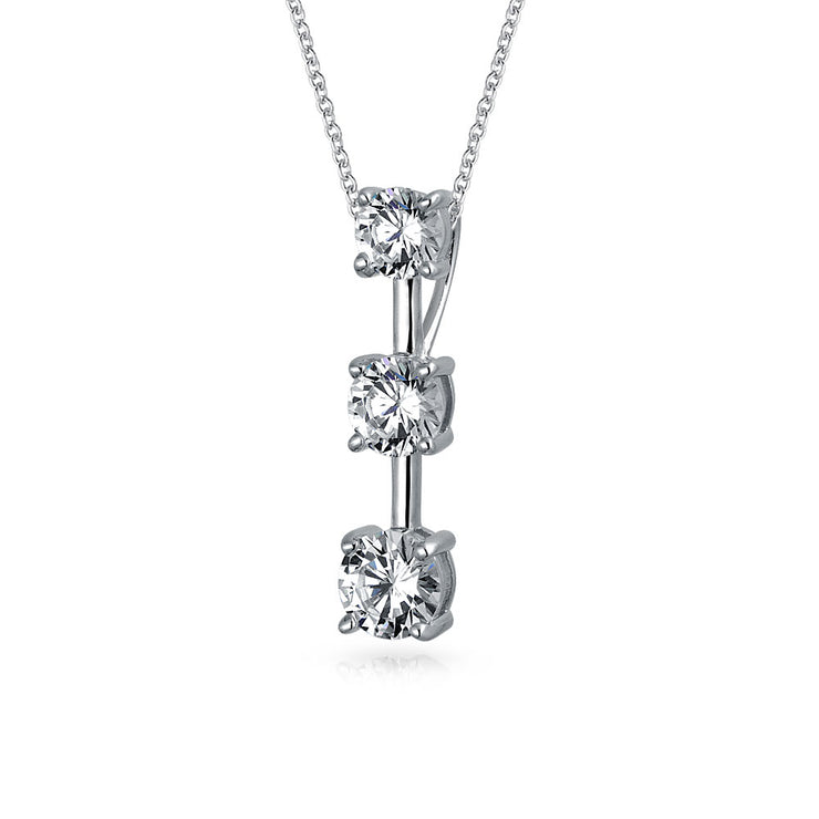 2.5 CT Solitaire Round CZ Pendant Necklace Sterling Silver Necklace