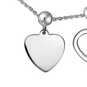 Lock Key Heart 3 Charm Pendant 925 Sterling Silver Necklace 20 Inch