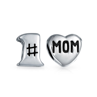 Number 1 Heart Mom Home Mother Family 925 Sterling Silver Charm Bead
