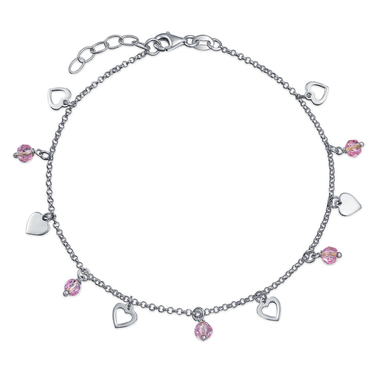 Heart Crystal Pink Anklet Charms Anklet Sterling Silver 9 +10 In