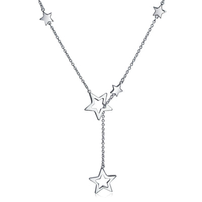 Patriotic Open Stars Rock Star Lariat Y Necklace High Sterling Silver
