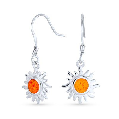 Orange Fire Created Opal Sun Burst Drop Earrings 925 Sterling Silver