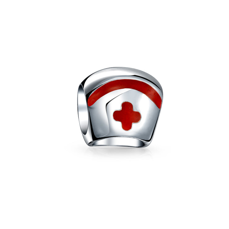 Nurse Cap Cross Medical RN Hospital Doctor Charm Bead Sterling Silver