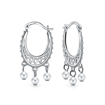 Freshwater Cultured Pearl Boho Filigree Hoop Earrings Sterling Silver