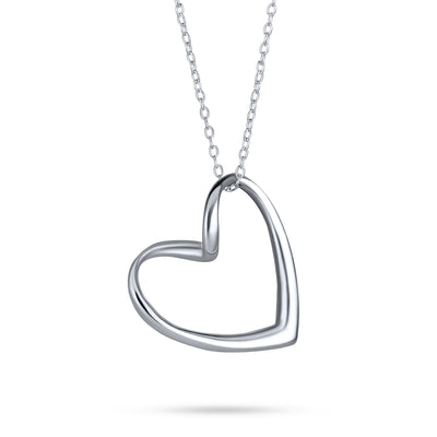 Floating Open Heart Pendant Necklace For Women 925 Sterling Silver