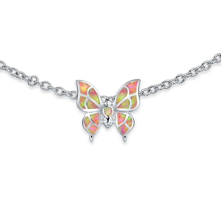 Pink Butterfly Created Opal Charm Anklet 925 Sterling Silver