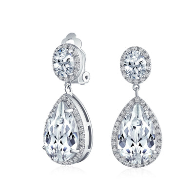 Teardrop CZ Halo Statement Dangle Clip On Earring Silver Plated