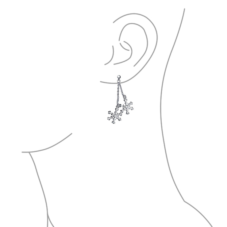 Christmas Snowflake Drop Dangle Tassel Earrings 925 Sterling Silver