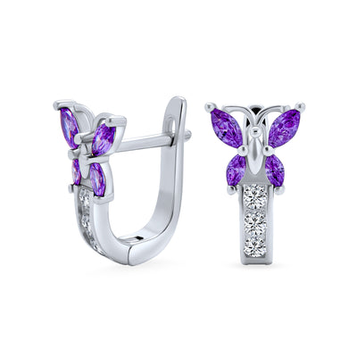 Purple CZ Garden Insect Butterfly Hoop Earrings Sterling Silver