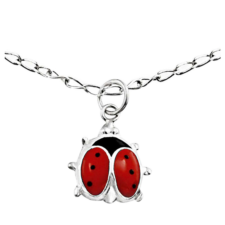 Red Ladybug Garden Dangle Charm Anklet Ankle Bracelet Sterling Silver