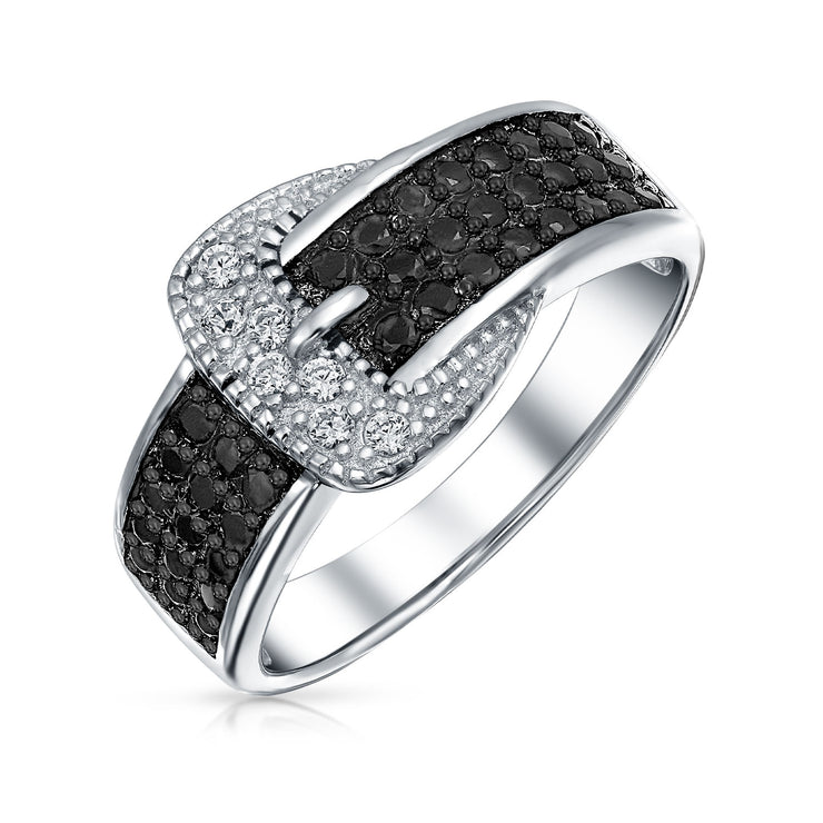 Trendy Fashion Pave Black CZ Belt Buckle Band Ring 925 Sterling Silver