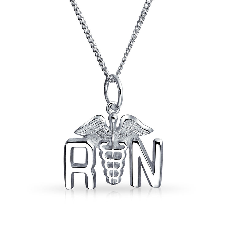 RN Registered Nurse Caduceus Pendant Charm Sterling Silver Necklace