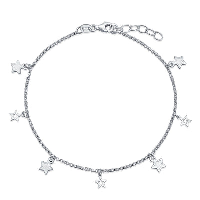Patriotic Multi Star Dangle Rolo Chain Anklet Charm Sterling Silver
