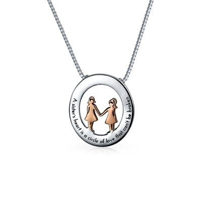 Best Friends Sorority Sisters Quote Pendant Necklace Sterling Silver