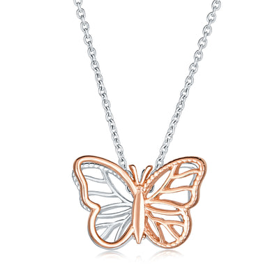 Open 3D Butterfly Necklace Cut Out Dangling Pendant Rose Silver