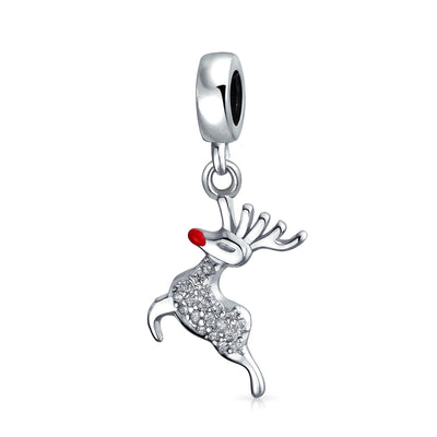 Rudolph Reindeer Red Nose Crystal Bead Dangle Charm Sterling Silver
