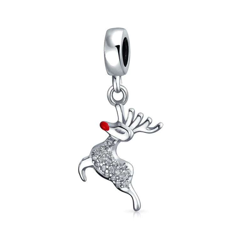 Christmas Dangle Rudolph Reindeer Red Nose Crystal Bead Charm Silver