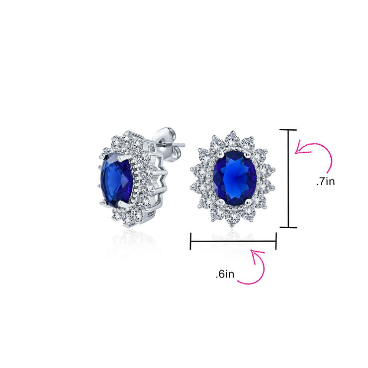 Oval CZ Halo Blue Stud Earrings Imitation Sapphire Silver Plated