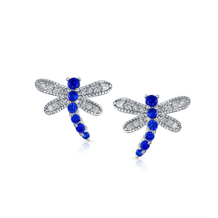 Blue Pave CZ Garden Butterfly Dragonfly Stud Earrings Sterling Silver