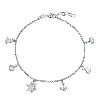 Charm Dangle Anchor Sailboat Ship Wheel Anklet 925 Sterling Silver
