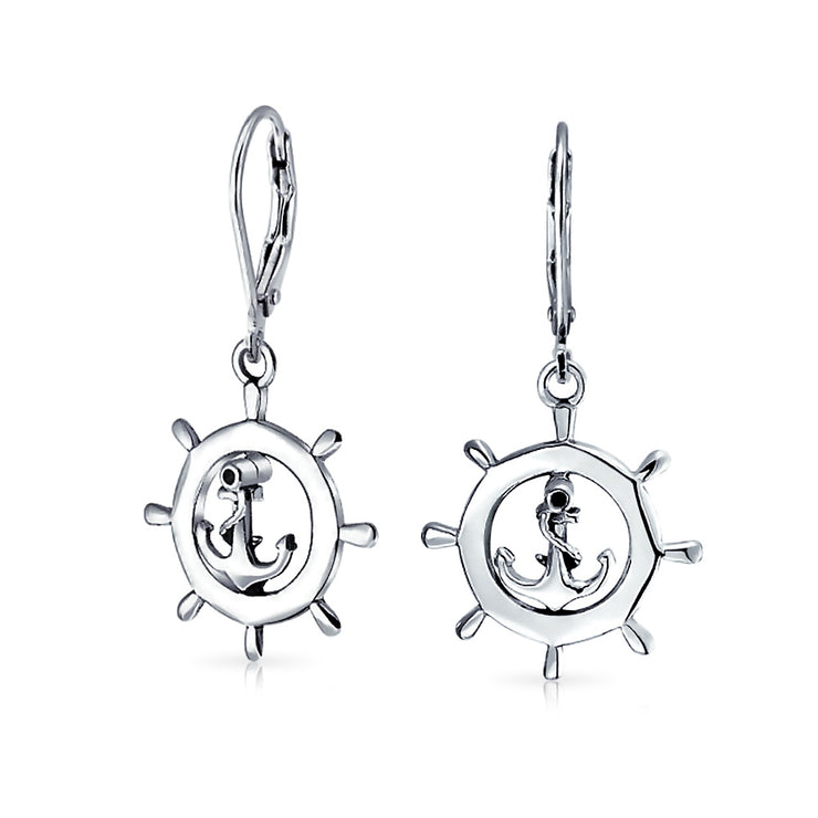 Nautical Boat Ship Wheel Anchor Leverback Earrings Sterling Silver