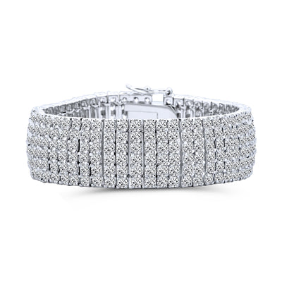 Bridal Tennis Bracelet Six Row Clear CZ Rhodium Plated Brass 7 Inches